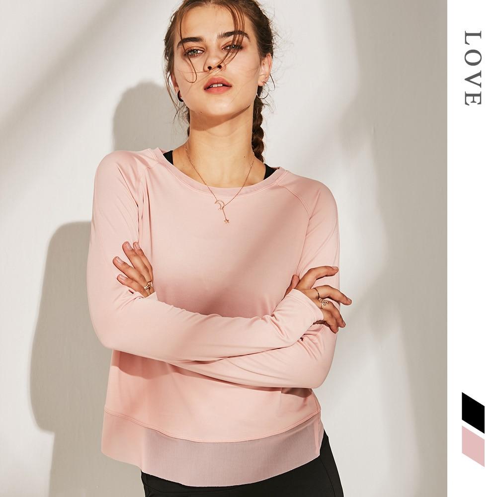 Women Yoga Shirts Gym Sportswear Loose Running Shirt Mesh Long Sleeve Workout Fitness Shirts Quick Dry Women Slim Sport Tank Top
