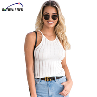 Bothwinner Ladies Summer Style Vest Top Ladies Casual Tops Plain Round Neck Sleeveless Knitted Fitness Crop