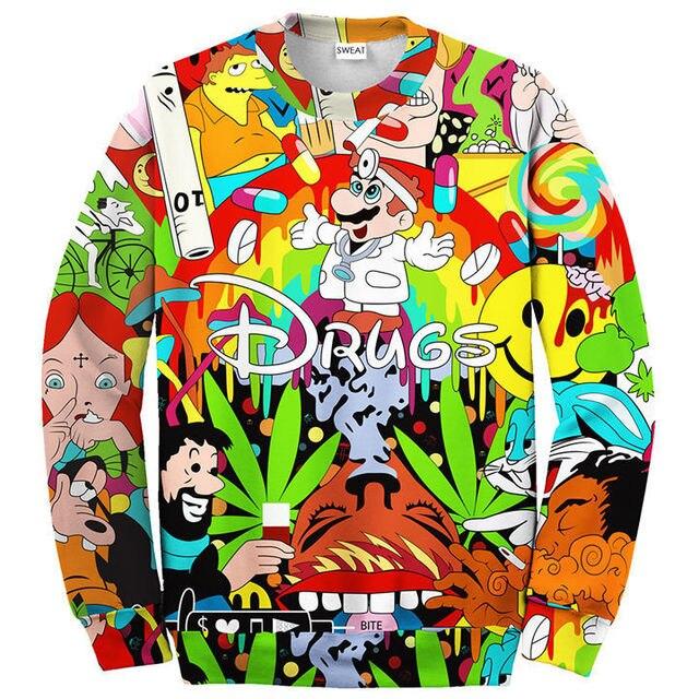 Unisex Women Men 3D Cartoon Sweatshirts Drugs Print Crewneck Weed Leaf Print Sweats Hoodies Winter Spring Autumn Pullover