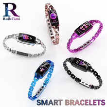 Women Smart Bracelets Luxury Sport Fitness Tracker Wristband Heart Rate Monitor Dress Smart Band Best Gift for Girls IOS Android(China)