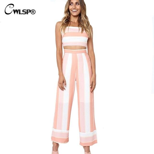 f3b275087e33 CWLSP Patchwork Striped Summer Two piece set Back Lace up Crop Top Full  Length Wide Leg pants Women Set conjunto feminino QL3810
