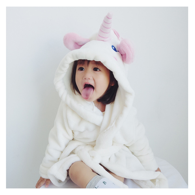 82f43d6d Children's Bathrobes Unicorn Style Heed Terry Bathrobe For Girls Flannel  Cartoon Animal Robes Dressing Gown Kids Home Clothing-in Pajama Tops from  Mother ...