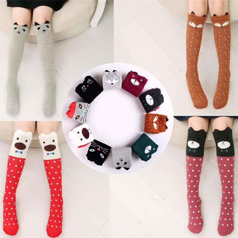 DreamShining Cartoon Children Socks Printed Animal Cotton Kids Sock Knee High Long Fox Baby Girl Socks Clothing Accessories