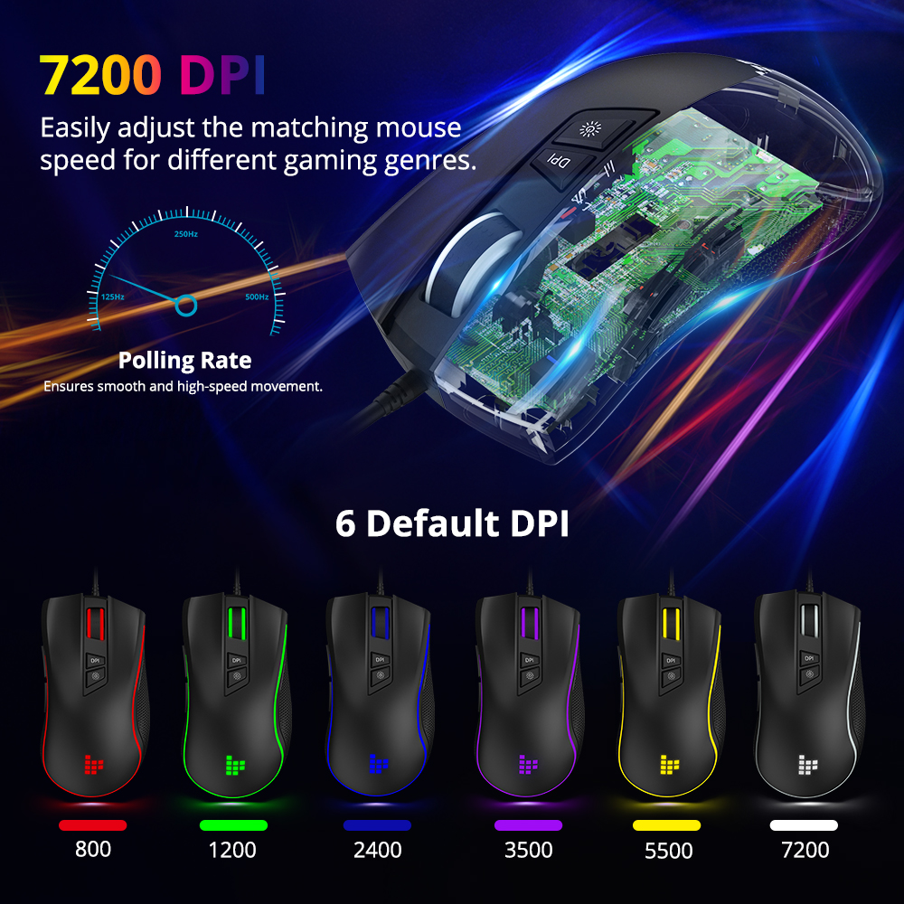 Image 2 - Tronsmart TG007 Wired Gaming Mouse Gamer Computer Mouse with 16.8 Million RGB,9 Programmable Buttons,7200 DPI & Sniper Button-in Mice from Computer & Office