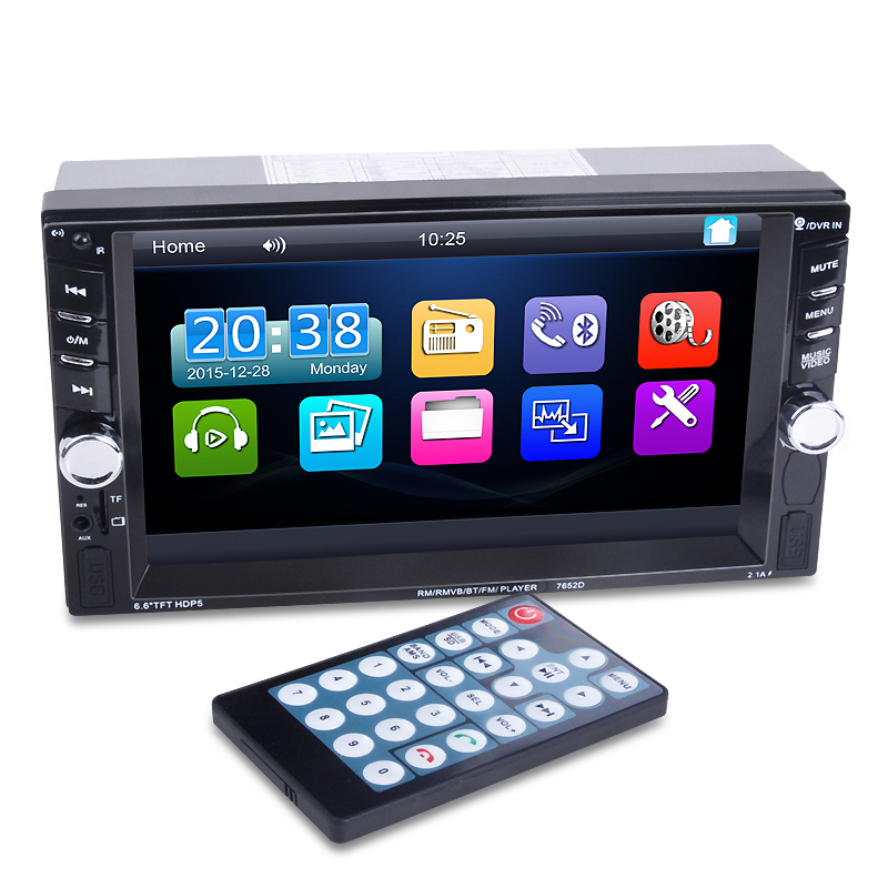2 Din Car Multimedia Player 6.6 HD Bluetooth Stereo Radio FM MP3 MP5 Video Audio USB Aut ...