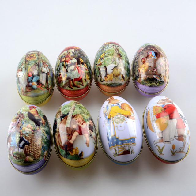 100pcslot zakka mini tin box easter egg shaped mixed pattern 100pcslot zakka mini tin box easter egg shaped mixed pattern wedding tea candy boxes negle Images