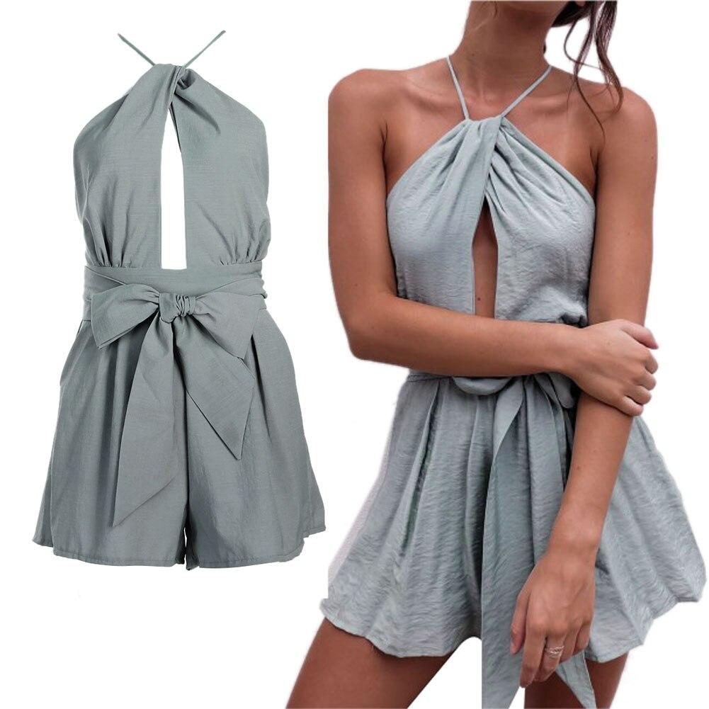 Boho casual sleepwear elegant pajamas women summer sexy halter one piece Sleepwear ruffled backless pajamas