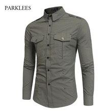 Męskie zieleń wojskowa taktyczne epolet ubranie koszule z długim rękawem koszulka Homme 2018 marka bawełna oddychająca szczupła styl Safari koszula mężczyzn