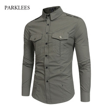 Mens Army Green Tactical Epaulet Dress Shirts Long Sleeve Chemise Homme 2018 Brand Cotton Breathable Slim Safari Style Shirt Men