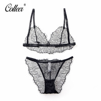 COLLEER Underwear Secret Dig New Sexy Lure Transparent Lace Bra Ultra Thin Wire Free Cup Bra