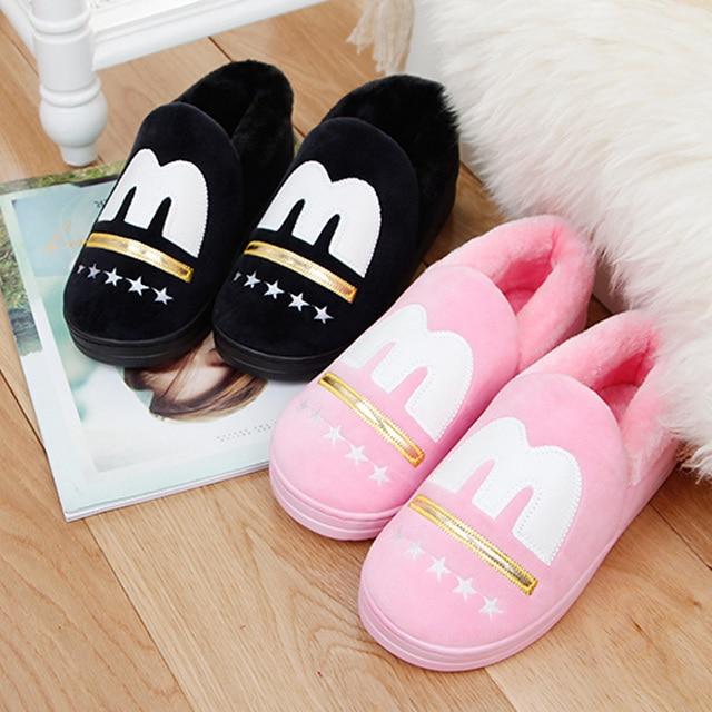 Calientes Zapatillas Zapatos Parejas Algodón Invierno Piel Mujer Las Casa De Mujeres xqSvfvI