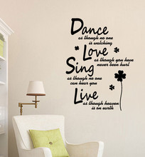 Text Dance Live Sing Removable Art Vinyl Mural Home Room Decor Wall Stickers Unique Wallpaper Living Decoration