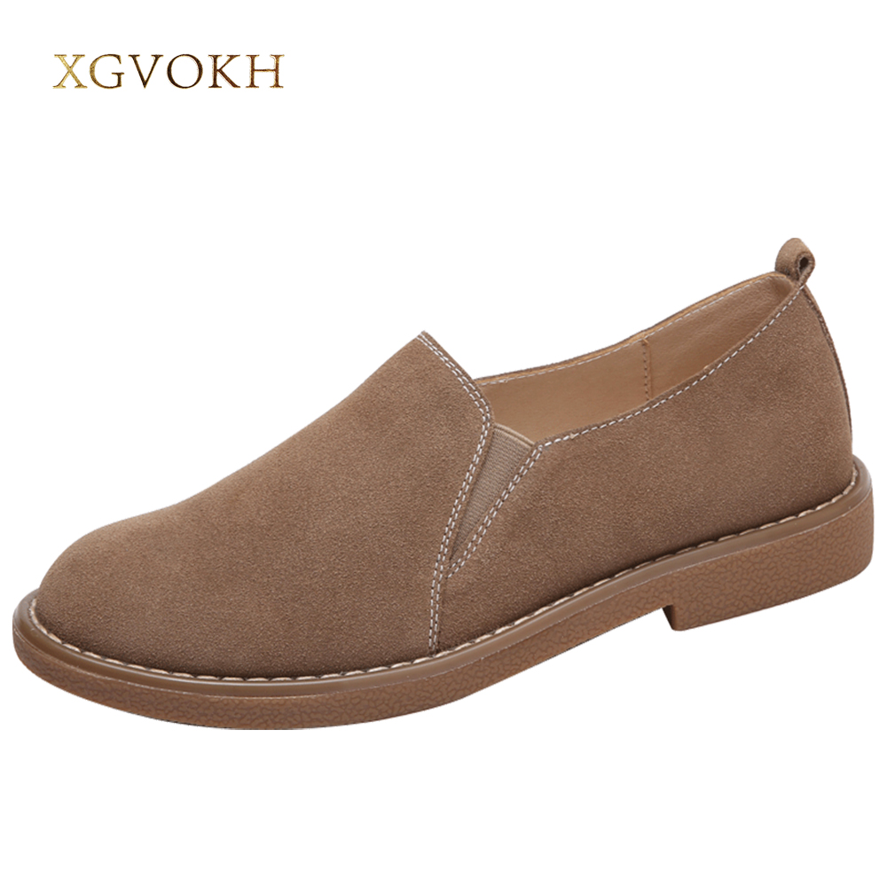 XGVOKH Loafers & Slip-Ons Shoes Women casual Leather Shoes Round Toe Spring Autumn Solid Flat Black Brown Khaki Moccasins driven racing standard clip ons 55mm black dclo55bk