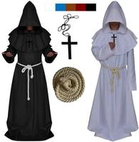 New Original Mens Church High Priest Monk Druid Cosplay Costume Halloween Party Dress Robe Cool Cloak