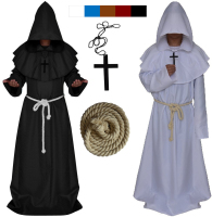 New Original Mens Church High Priest Monk Druid Cosplay Costume Halloween Party Dress Robe Cool Cloak