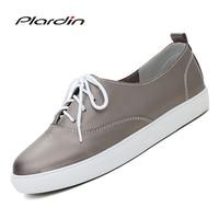 Plardin 2017 Four Seasons Leisure Genuine Leather Sewing Skate Shoes Flat Women Shoes Ballet Lace Up