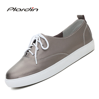 Plardin 2018 Four Seasons Leisure Genuine Leather Sewing Skate Shoes Flat Women Shoes Ballet Lace Up