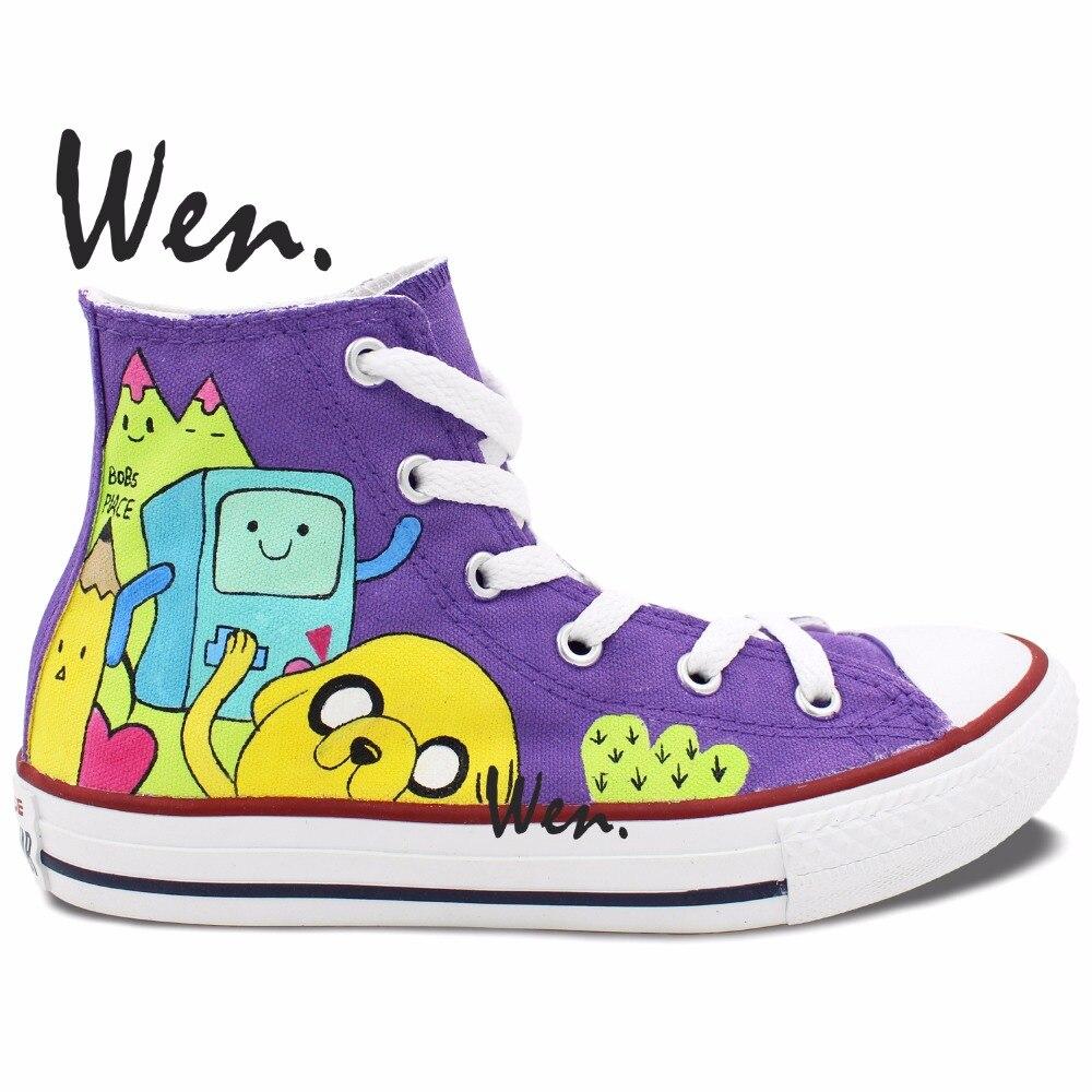 Prix pour Wen Custom Design Peint À La Main Chaussures de Adventure Time Hommes Femmes High Top Toile Sneakers Cadeaux pour Garçons Filles