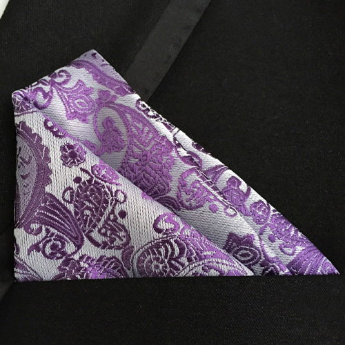 Lingyao Luxury Pocket Square High Quality Woven Handkerchief Purple Paisley Handky For Party