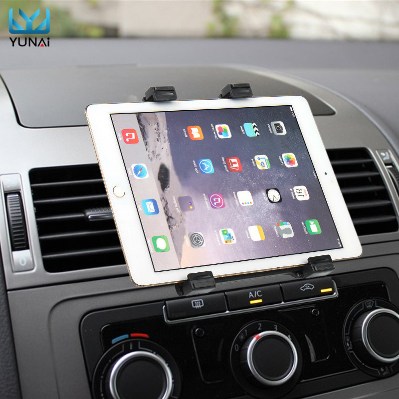 YUNAI 7-11 inch tablet Car air vent Mount Stand Holder For iPad New Tablet Car Holder Navigatio Mount Stand For Samsung car swivel air outlet mount holder for htc one s black