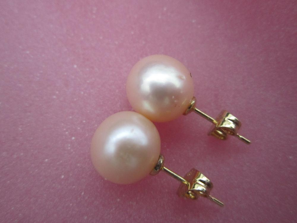 free shipping GENUINE ROUND AAA+++ 10-11 MM pink SOUTH SEA PEARLS EARRING 14k/20 goldfree shipping GENUINE ROUND AAA+++ 10-11 MM pink SOUTH SEA PEARLS EARRING 14k/20 gold