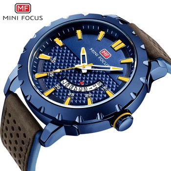 MINIFOCUS Fashion Casual Brand Waterproof Quartz Watch Men Military Leather Strap Sports Watches Man Clock Relogio Masculino