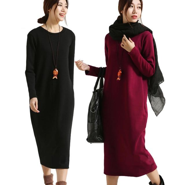 Scuwlinen dress 2017 vestido de invierno las mujeres dress plus size dress de manga larga de terciopelo engrosamiento térmica básica sólido caliente dress s59