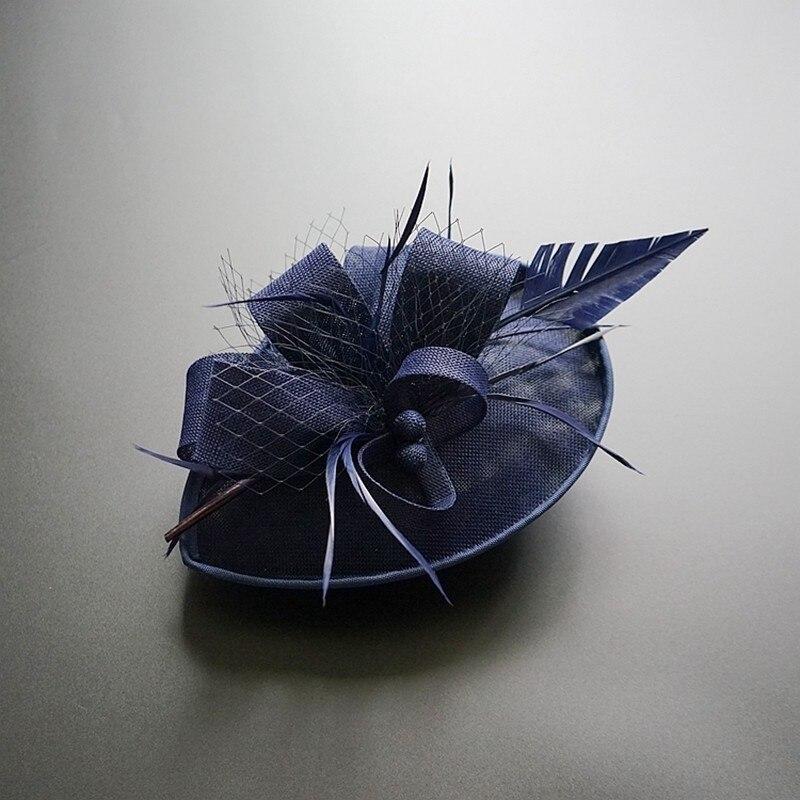 Women Chic Fascinator Hat Cocktail Wedding Party Church Headpiece Fashion Headwear Feather Hair Accessories Sinamay Fascinators