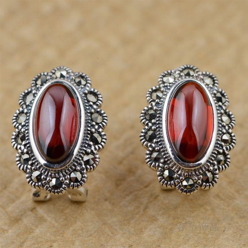 Silver Thai silver inlaid red Zircon Earrings ear clip retro antique female temperament all-match elliptic section thai silver earrings s925 zircon silver inlaid white female antique style earrings atmospheric water