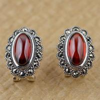 Silver Thai silver inlaid red Zircon Earrings ear clip retro antique female temperament all match elliptic section