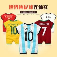 38312c2a94176 2018 bebé infantil del verano de manga corta Brasil Romper para niños  deportes trajes fútbol Bebé Ropa uniforme