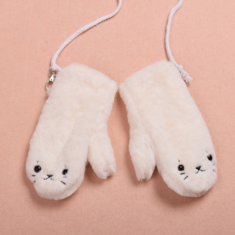 Girls Cute Winter Soft White Plush Gloves Cartoon Seal Pattes