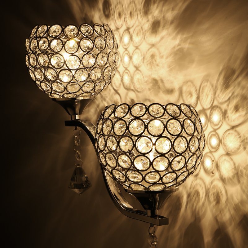ФОТО A1 Stylish simplicity LED simple modern new iron plating crystal study creative living room bedroom bedside wall lamp warm