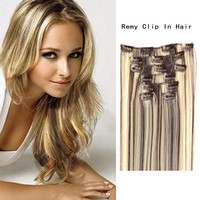 Salon Luxury Class Silky Soft 7PCS 20inch Clip In Remy Real Human Hair Extensions Full Head Charming Hair Gift Wholesale