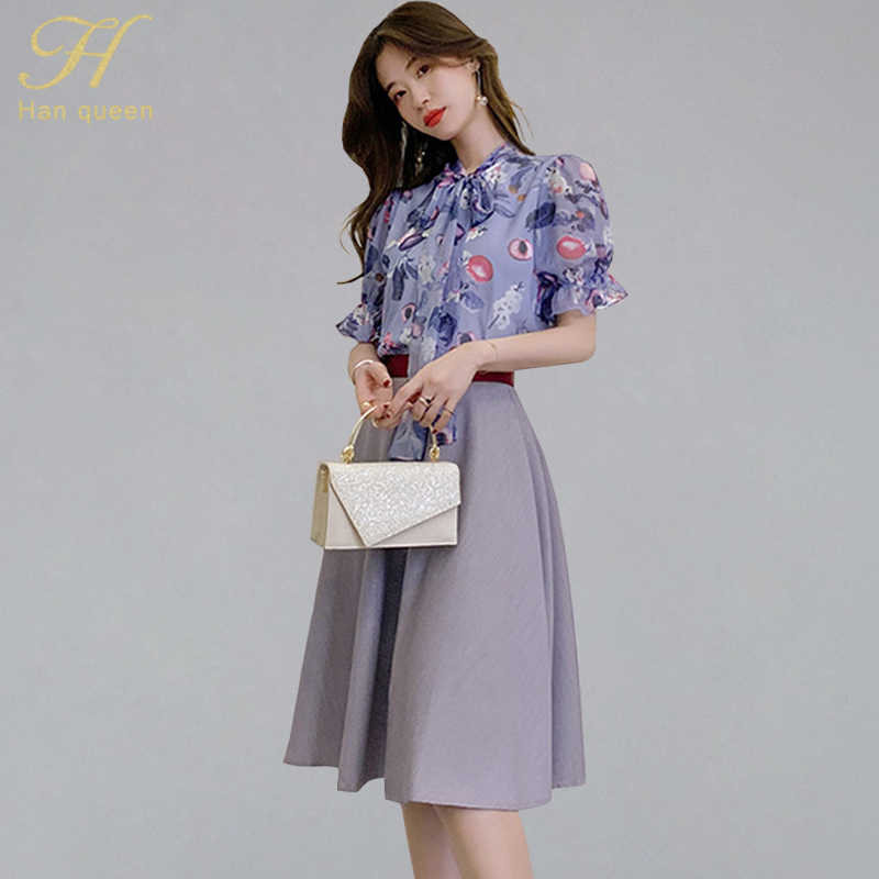 H Han Queen Women's Summer 2 Pieces Suits 2019 New Chiffon Print Bow Neck Blouses And Solid Color A-line Skirts Office Wear Set