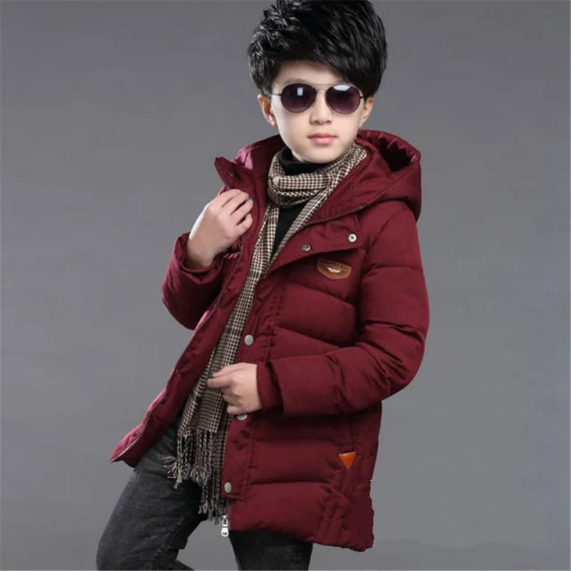 Garyduck New Winter Boys Down Jacket 4-15T Kids Outerwear Fashion Warm Children Hooded Jacket Solid Warm Boys Coat 2016 new arrival men s winter jacket casual slim fit fashion solid hooded man jacket winter warm high quality m 4xl