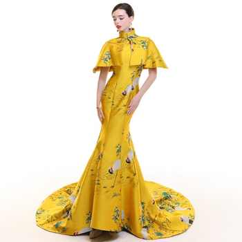 Yellow Stain Vintage Cheongsam Long Modern Chinese Traditional Dress Women Qipao Wedding Robe Chinoise Vestido Oriental Evening - DISCOUNT ITEM  45 OFF Novelty & Special Use