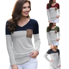 Spring and Autumn Hot New Fashion Personality Pocket Stitch Stripe Decoration Slim Casual Womens T-Shirt