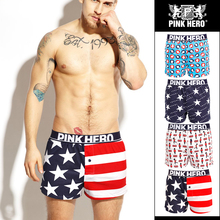 2017 new Pink Heroes Men Underwear Board shorts Fashion Europe and Amerrica Style Printed Men Boxers Shorts Cotton Men Cuecas