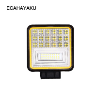 ECAHAYAKU 4 Inch 126W 6 Row LED Work Light Bar with Yellow DRL light 12v off road led bar 4x4 Driving fog Lamp Offroad SUV Truck