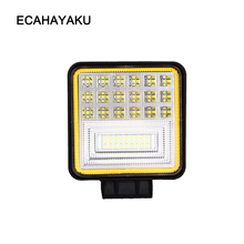ECAHAYAKU 4 Inch 126W 6-Row LED Work Light Bar with Yellow DRL light 12v off road led bar 4x4 Driving fog Lamp Offroad SUV Truck 1pc 126w with cree 42led work light bar spot flood beam offroad drl driving lamp car working light source free shipping