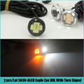 1 piece 23MM Car stying LED Dual Color Xenon White/Amber Eagle eyes Daytime Running Light With Yellow Turn Signal Lamp