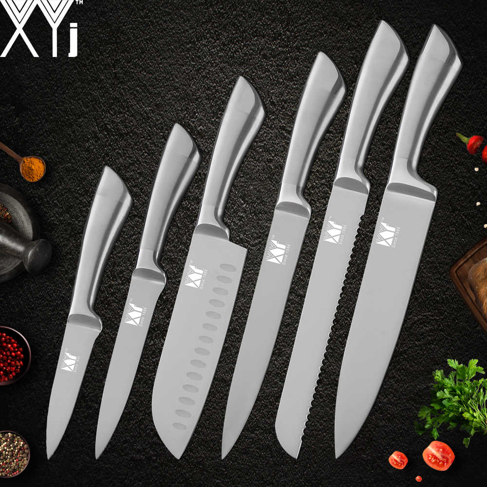 XYj Stainless Steel Kitchen Knife Set High Carbon Steel Blade Non-slip Handle Knives Meat Fish Fruit Sushi Cooking Accessories