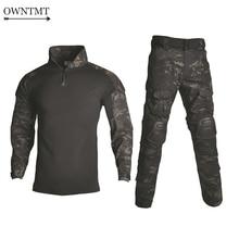 BDU taktyczny kamuflażowy mundur wojskowy ubrania garnitur mężczyźni usa odzież wojskowa Airsoft wojskowa koszula bojowa + spodnie Cargo ochraniacze na kolana