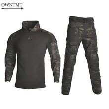 BDU التكتيكية زي عسكري مموه الملابس دعوى الرجال ملابس الجيش الأمريكي الادسنس العسكرية القتالية قميص السراويل البضائع الركبة