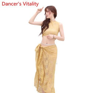 Image 5 - Belly Dance Practice Clothes 2019 New Sleeveless Top Hip Scarf Set Summer Beginner Indian Oriental Dance Wear Elegant Costume