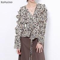KoHuiJoo 2018 Fall V Neck Vintage Blouses Women Leopard Print Ruffles Fashion Chiffon Blouse Shirt Ladies Long Sleeve Tops