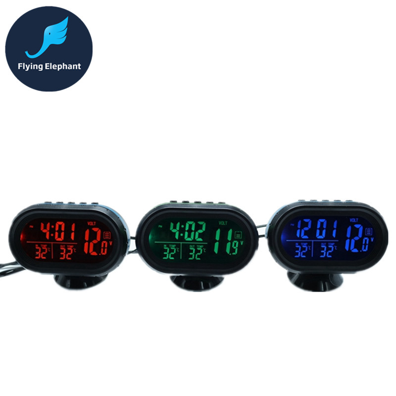 water cooling green led Digital Thermometer Alarm Clock Dual Temperature show