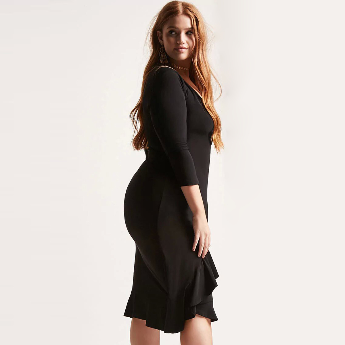 kissmilk 2018 Plus Size Sexy Lace Up Women Dresses V neck Ruffles Solid  Black Female Clothing Big Size Lady Slim Dress 3XL 7XL-in Dresses from  Women s ... 484898d8b380