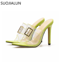 цена на Fashion PVC Transparent Summer Slippers Shoes Sexy High Heel 11.5cm Women Slippers Open Toe Buckle Casual Party Women Slides